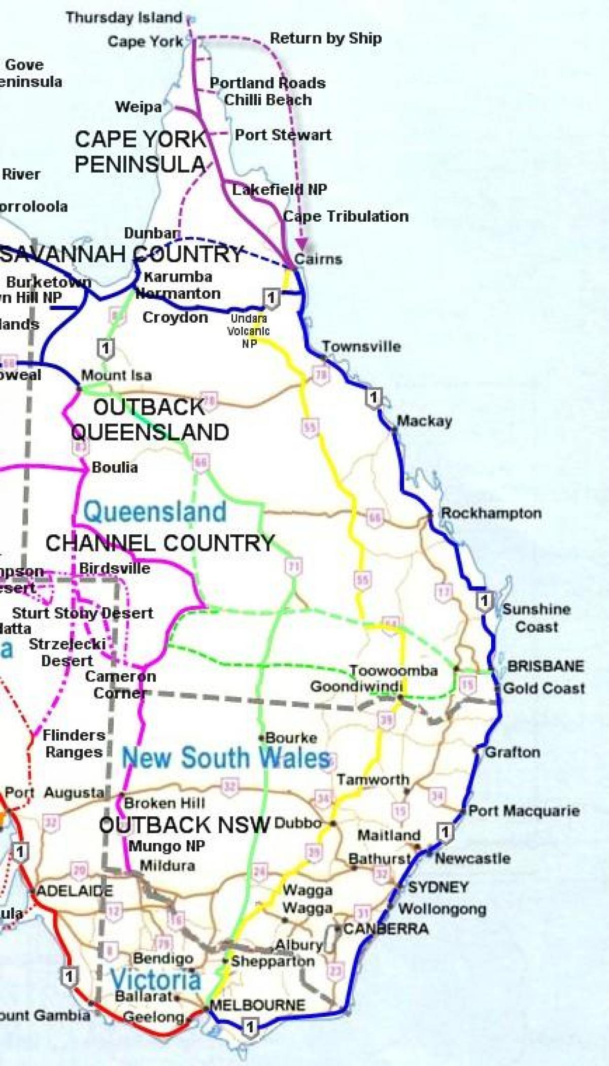 mapa da costa leste de australia